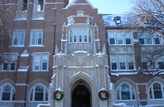 Snowy wreaths hang on the Administration Building