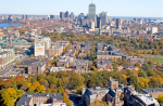An aerial view of campus and Boston.