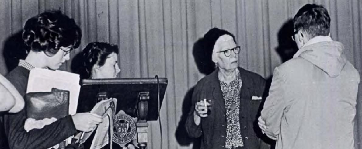 Dorothy Day Lecturing on the Emmanuel College Campus - Epilogue Yearbook 1964
