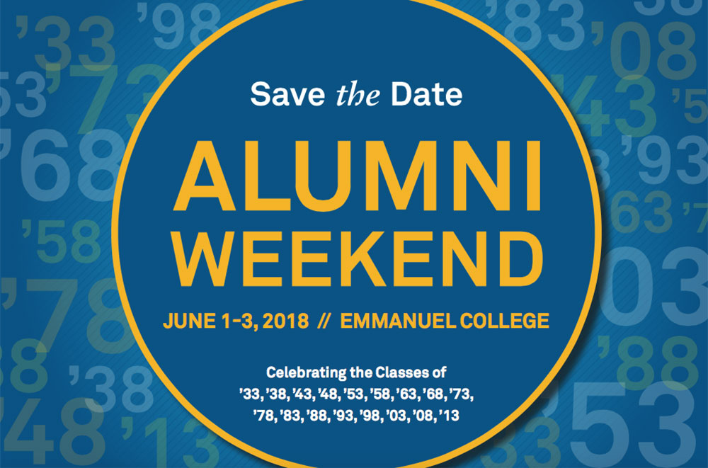 Save the date for Emmanuel College Alumni Weekend 2018: June 1-3, 2018
