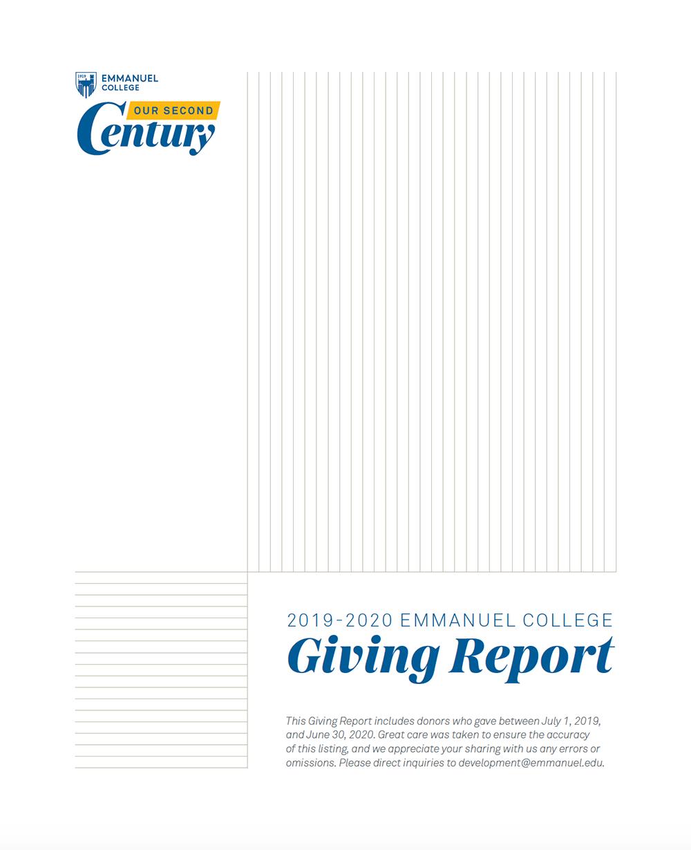 2019-20 Emmanuel College Giving Report