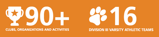 90+ clubs, organizations and activities | 16 Division III varsity athletic teams