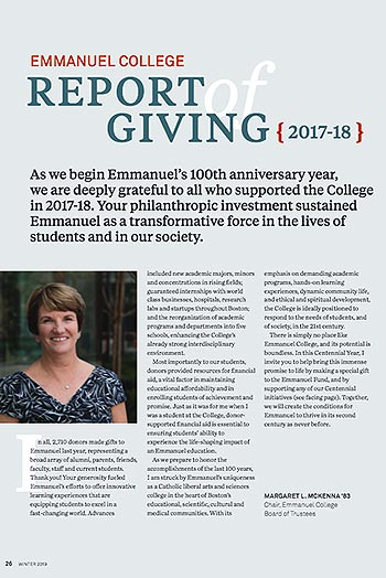 2016-17 Emmanuel College Giving Report